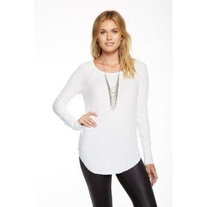 Chaser White Waffle Knit Button Cuff Thermal Top